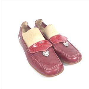Brighton Red Leather Driving Shoes Moccasins 40